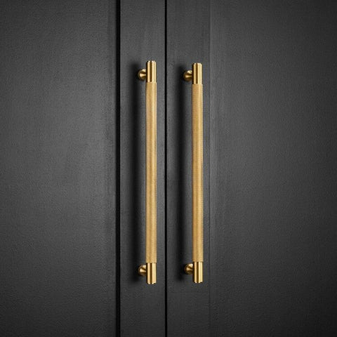 Knurled Satin Brass Cupboard Pull Handle