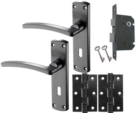 Door Handle Pack 'Innovate' Matt Black - LOCKING DOOR