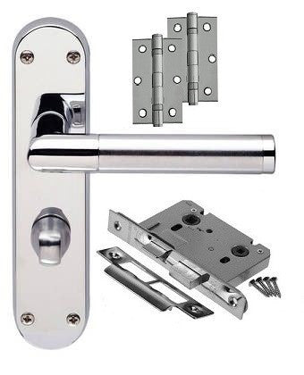 Door Handle on Backplate Pack - Bathroom Lock - Dual Finish