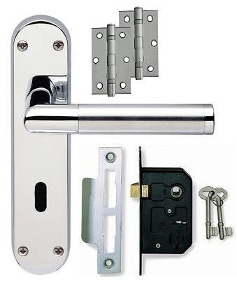 Door Handle on Backplate Pack - Lock - Dual Finish