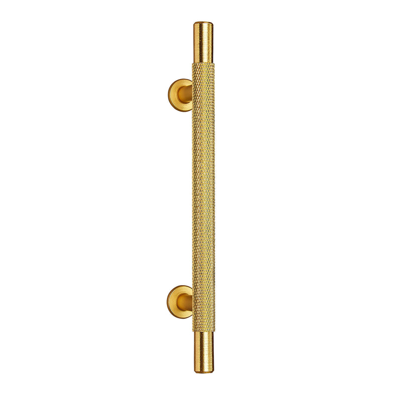 Knurled Satin Brass T-Bar Drawer/Cabinet Pull Handle - 96mm, 128mm, 192mm Centres