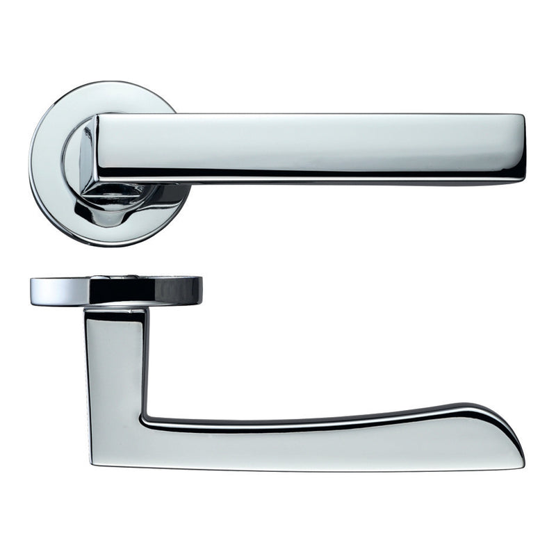 Zoo Hardware Rosso Maniglie Mensa Levers On Round Rose, Polished Chrome - RM050PC