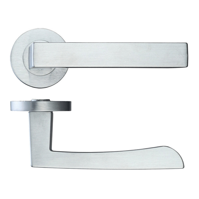 Zoo Hardware Rosso Maniglie Mensa Levers On Round Rose, Satin Chrome - RM040SC