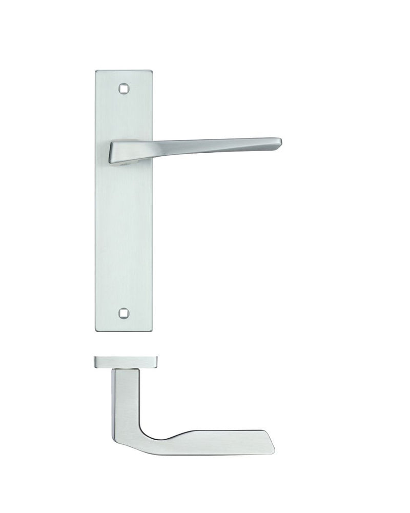 Rosso Maniglie RM092SC Lyra Door Handles on Backplate - Satin Chrome - LATCH HANDLE