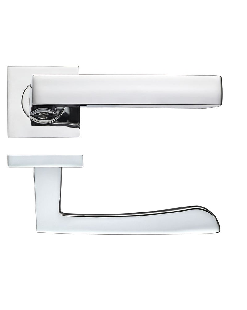 Zoo Hardware Rosso Maniglie Mensa Levers On Square Rose, Polished Chrome - RMSQ050PC