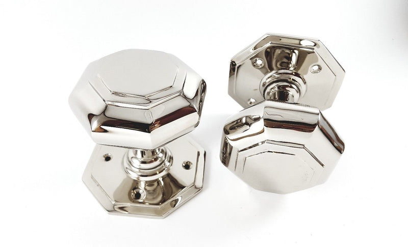 Polished Nickel Octagonal 73mm (3 Inch) Mortice Door Knobs - SB2110PNP
