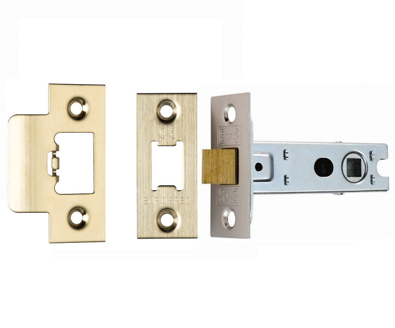 Satin Brass Double Sprung Mortice Latch - Fire Door Approved 2.5, 3 Inch & 4 Inch