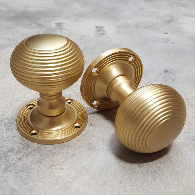 Satin Brass Reeded Beehive Mortice Door Knobs - LIMITED EDITION