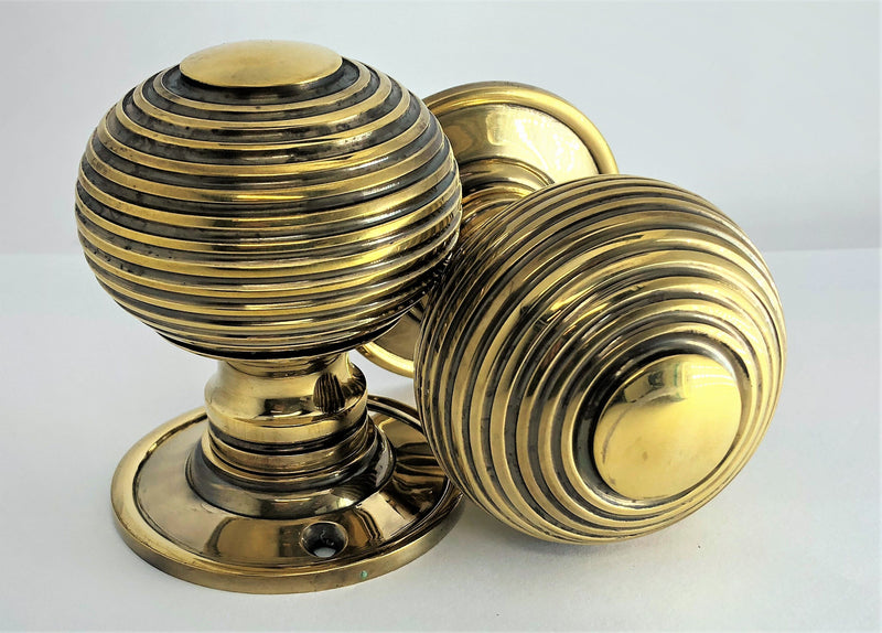 Aged Brass Reeded Beehive Mortice Door Knobs (Solid Brass) - SB2106AGB