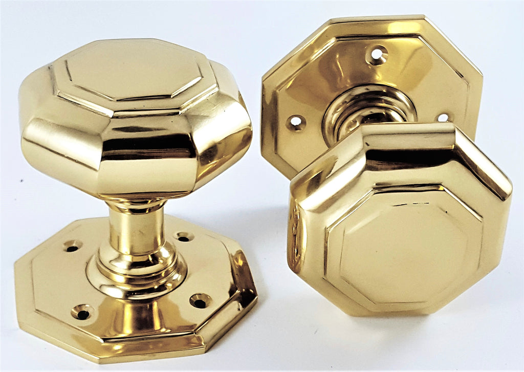 Polished Brass Octagonal Mortice Door Knobs (Solid Brass) - SB2110PB