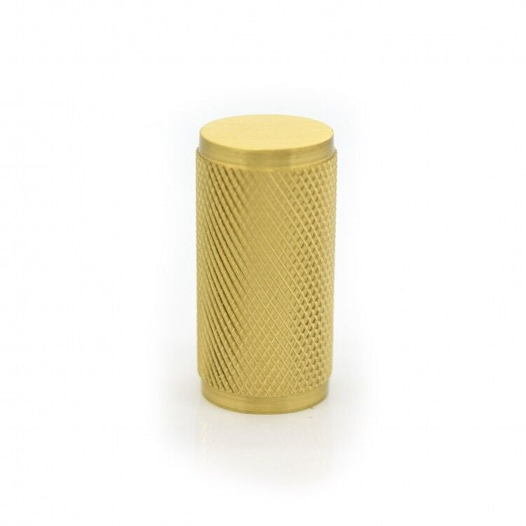 Satin Brass Gold Knurled Cylinder Cupboard, Cabinet Pull Handle - By Spira Brass
