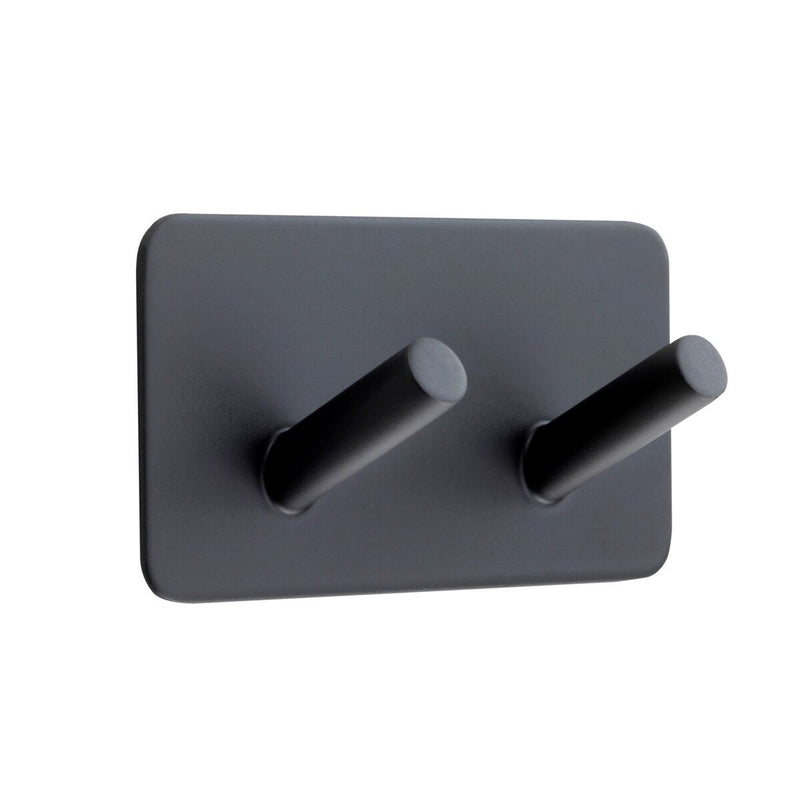 Matt Black Double Hat and Coat Hook on Adhesive Backplate