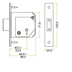 TECH DIAGRAM FOR BOTH SIZES - British Standard Insurance Approved 5 Lever Chubb Retro-Fit Dead Lock