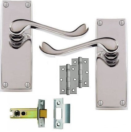 Scroll Door Handle on Backplate Pack - Latch - Chrome/Satin Finish