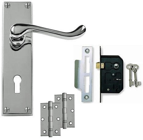 Scroll Door Handle on Backplate Pack - Lock - Chrome/Satin Finish
