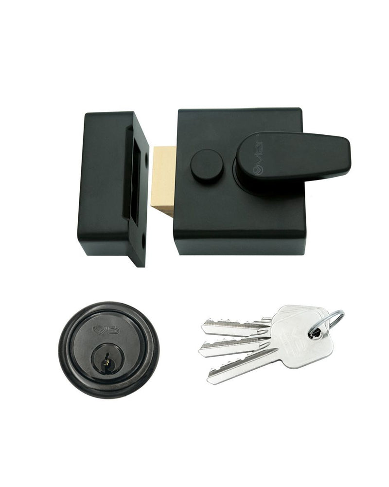 40mm BACKSET YALE STYLE MATT BLACK SECURITY RIM CYLINDER NIGHTLATCH