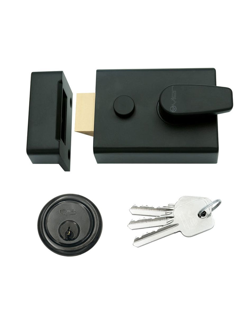 60mm BACKSET YALE STYLE MATT BLACK SECURITY RIM CYLINDER NIGHTLATCH
