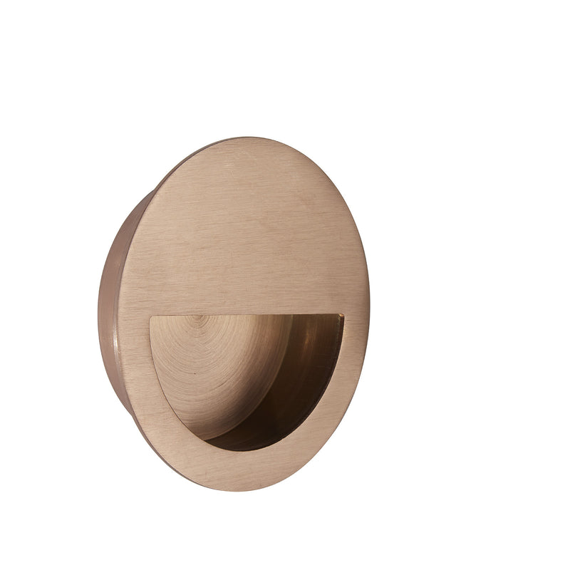 Copper Half Moon Pocket/Sliding Door Round Flush Pull Handle 90mm