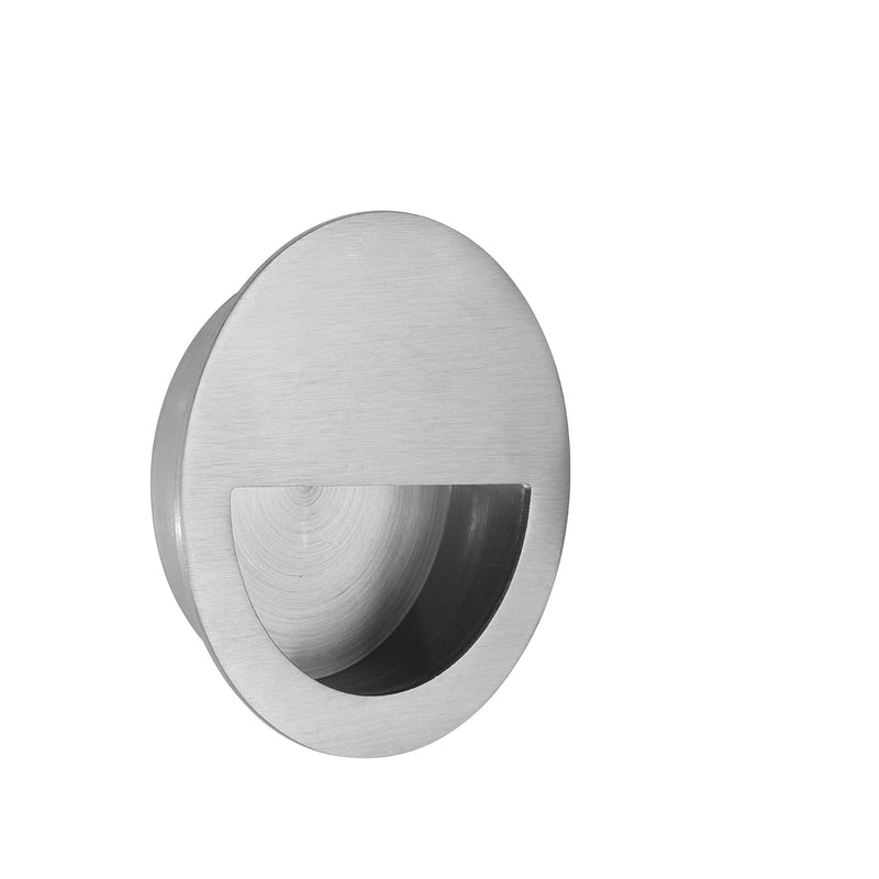 Satin Stainless Steel Half Moon Pocket/Sliding Door Round Flush Pull Handle 90mm