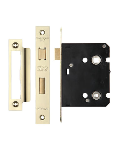 POLISHED BRASS 3 INCH BATHROOM LOCK