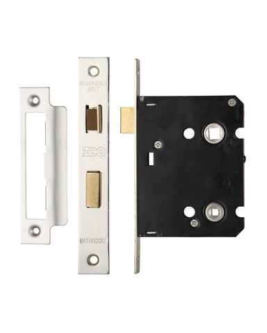 SATIN CHROME/NICKEL 3 INCH BATHROOM LOCK