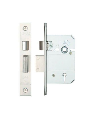 KEYED ALIKE 5 Lever Insurance Approved Mortice Sash Lock, 2.5 Inch - BS3621 - VARIOUS FINISHES