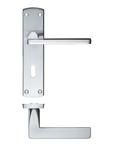 Leon Lever on Back Plate, Satin Chrome - LOCK