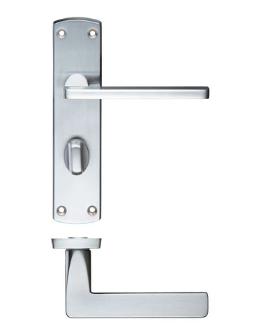 Leon Lever on Back Plate, Satin Chrome - BATHROOM