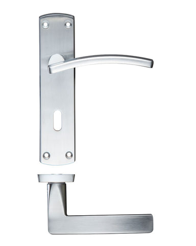 Toledo Lever on Back Plate, Satin Chrome - KEYHOLE LOCK
