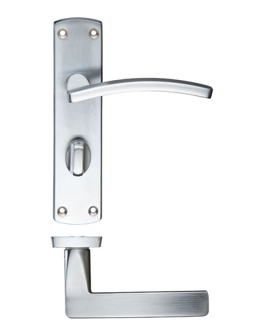 Toledo Lever on Back Plate, Satin Chrome - BATHROOM VERSION