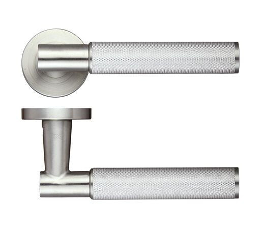 Satin Stainless Steel Knurled Door Handles - Exclusive Design