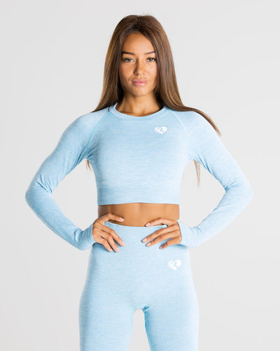 Move Seamless Long Sleeve Crop Top | Blue Marl