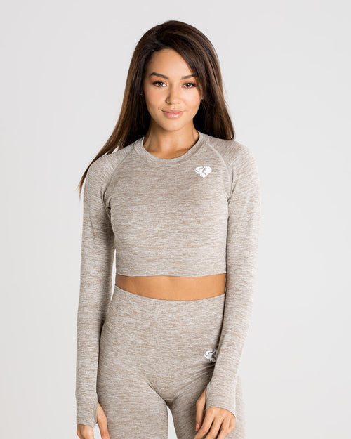 b6890c1b2a234d Move Seamless Long Sleeve Crop Top | Brown Grey Marl ...