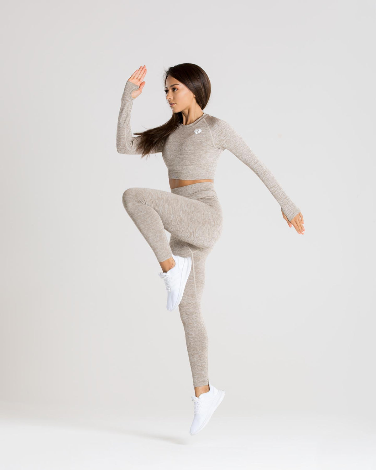 Move Seamless Long Sleeve Crop Top | Brown Grey Marl