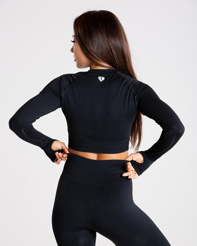 Power Seamless Long Sleeve Crop Top | Black