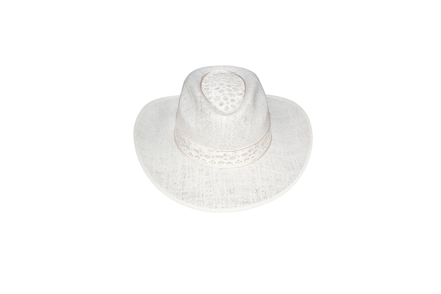 Laser cut linen and leather hat