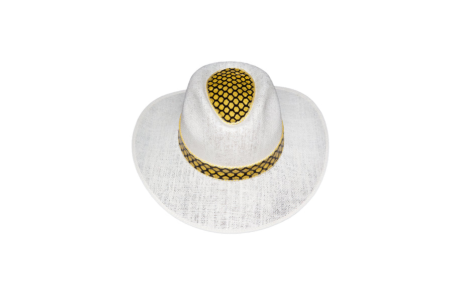 Exotic leather linen hat