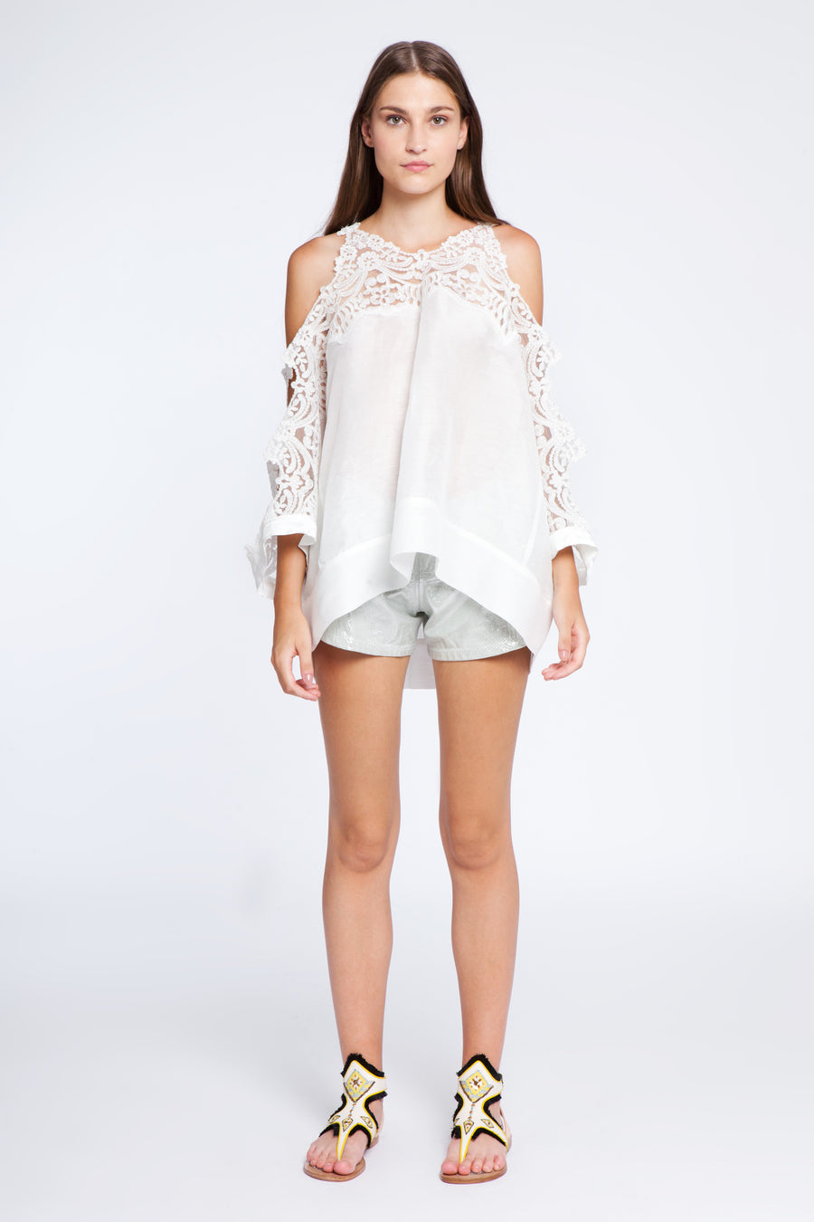 Short line and lace top