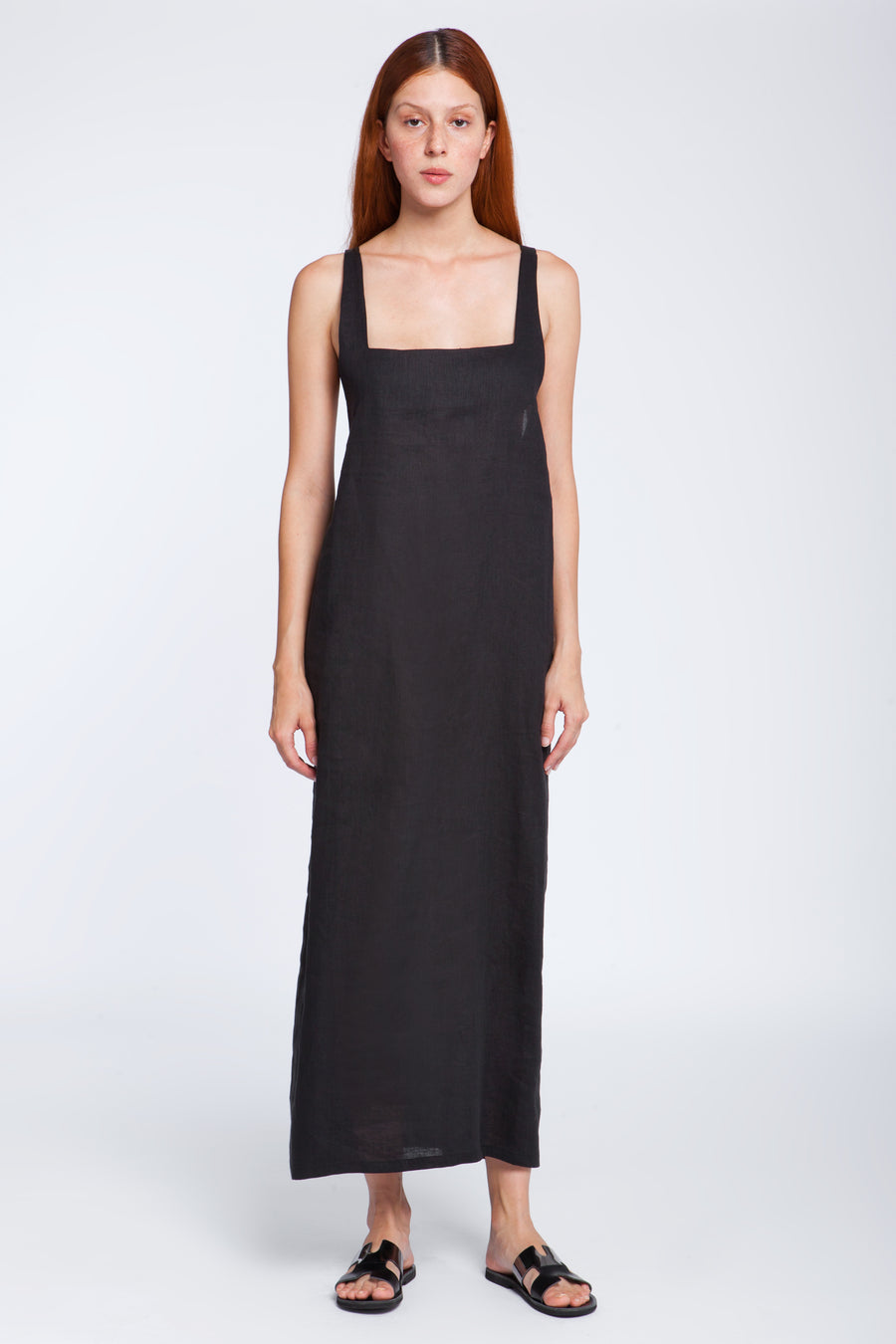 Leather and linen long dress