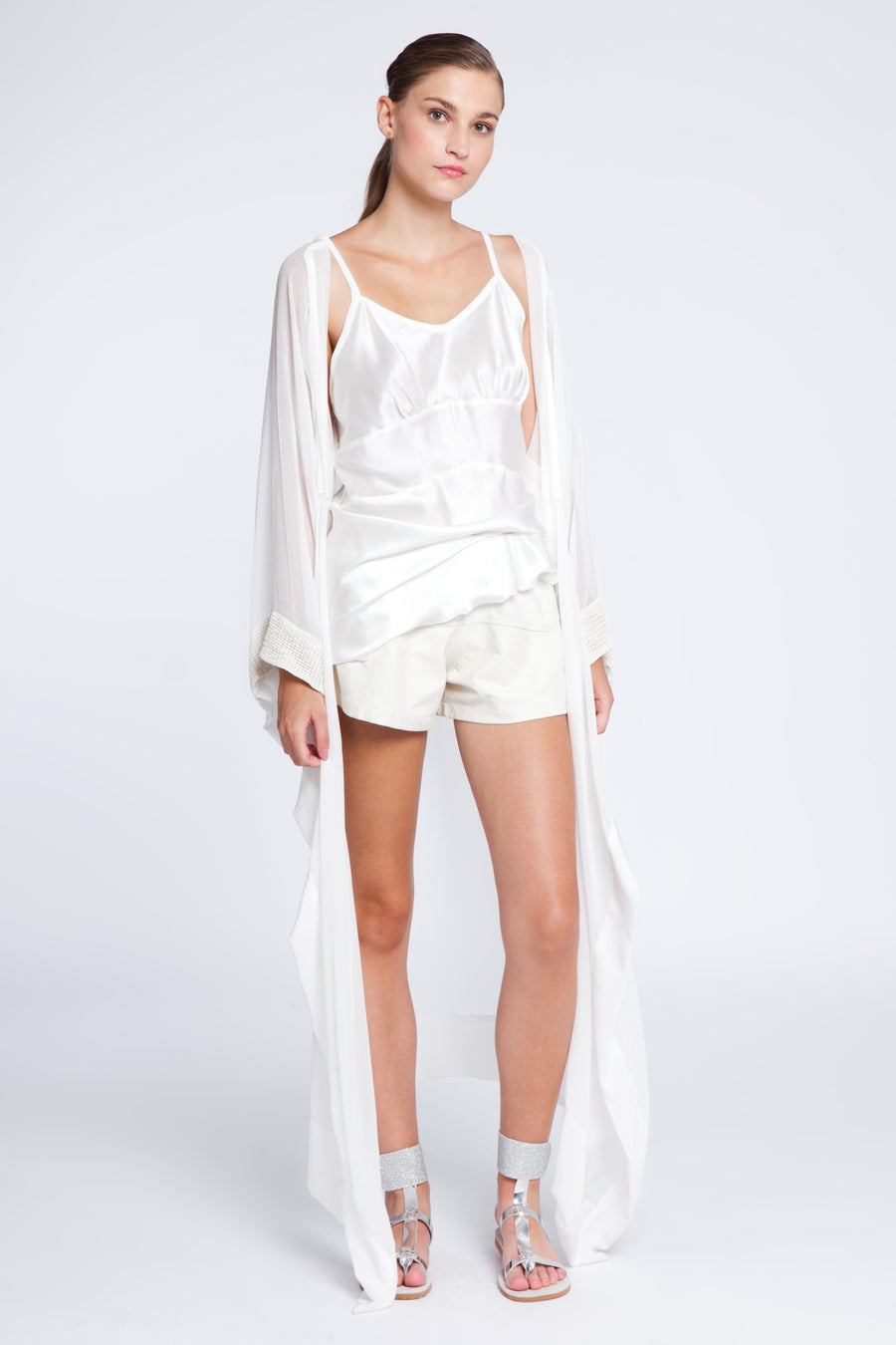 Sheer silk and leather short kimono