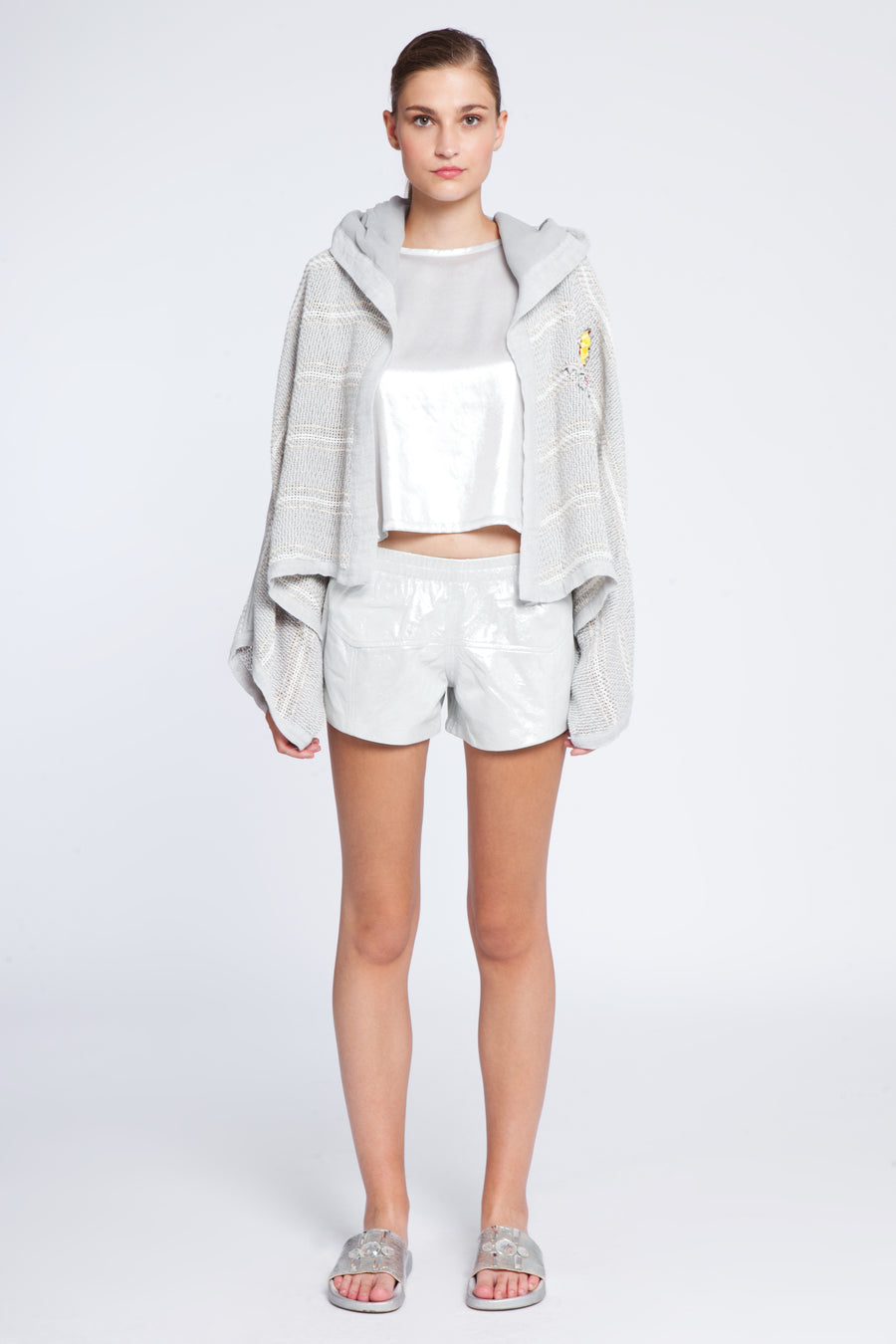Linen and cotton embellished hoodie