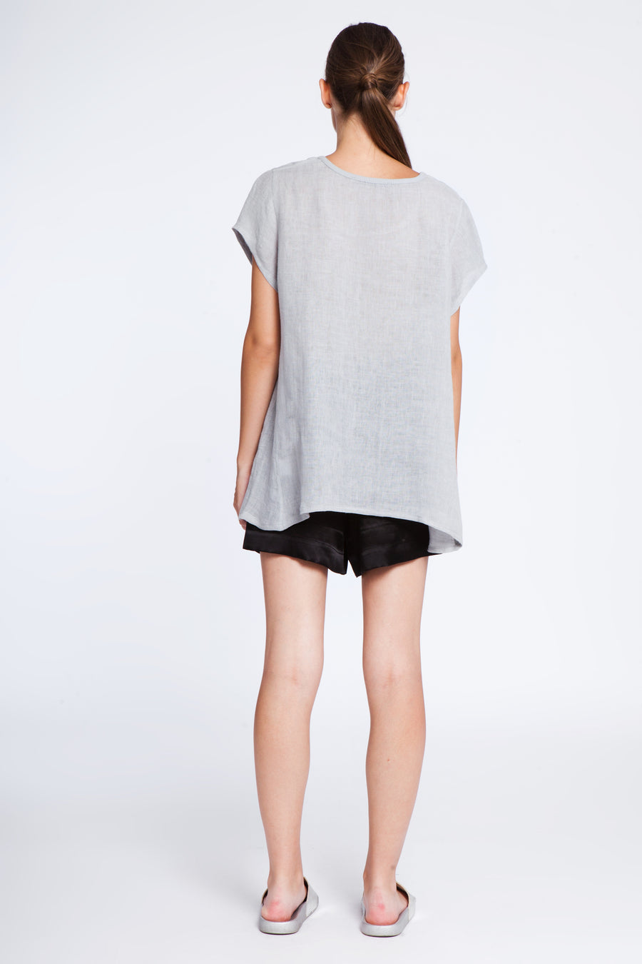 Wide linen top with print