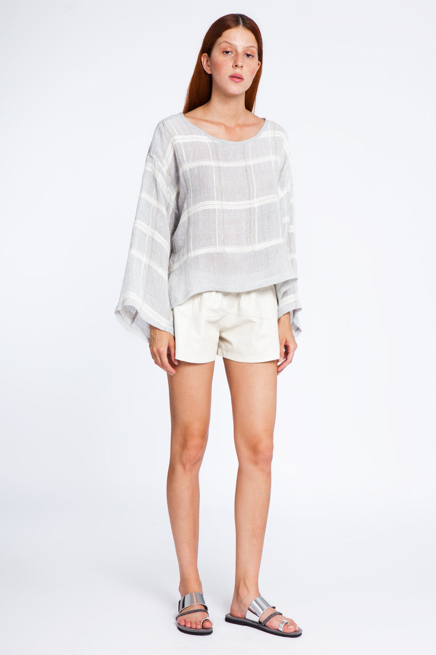 Open neck wide linen blouse