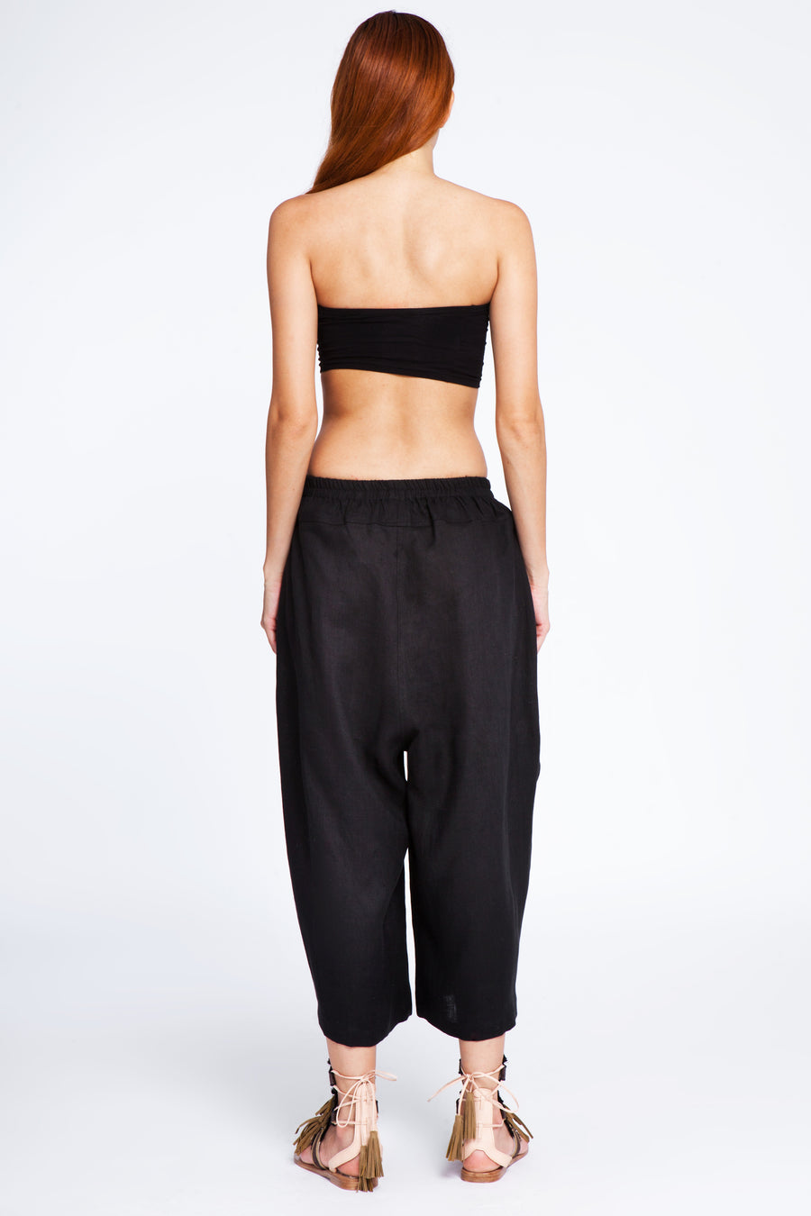 Ankle wide linen and silk trousers