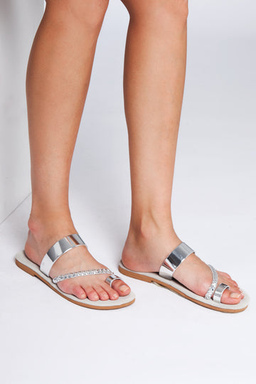 Silver leather sliders