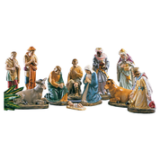 "12"" plaster crib set - jesus mary joseph wise men shepherds ox and ass"