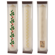 "12"" x 2"" beeswax seasonal advent candle - holly star and roman numerals"