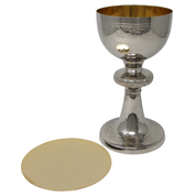 decorative brass and nickel plate chalice and paten