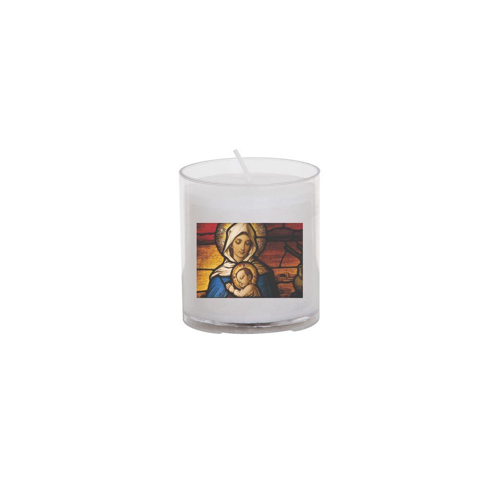 christmas seasonal transfer 24 hour votive light - stain glass madonna