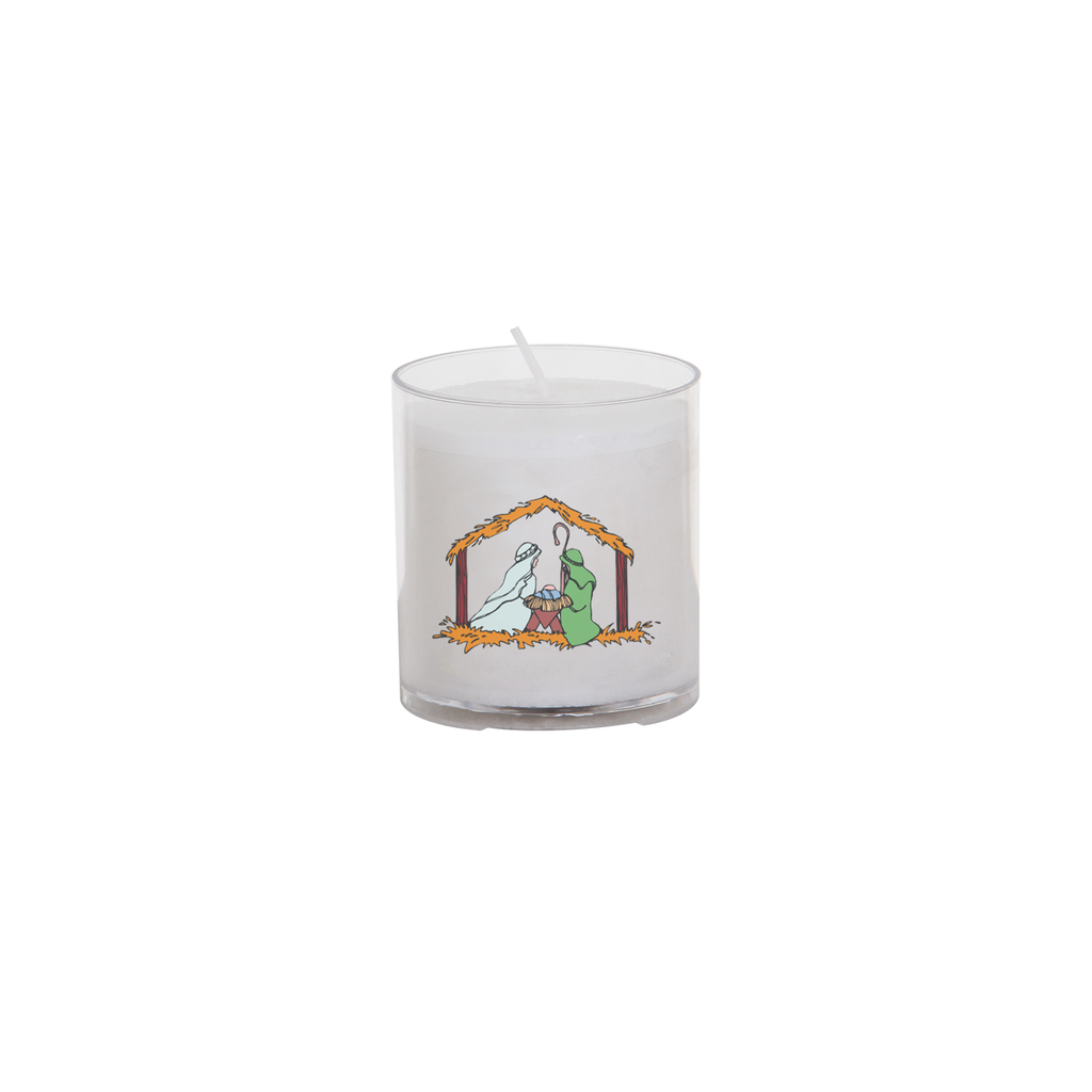 christmas seasonal transfer 24 hour votive light - stable nativity